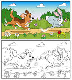Coloring book or page. Dog in the meadow chasing a rabbit. Royalty Free Stock Images