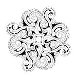Coloring book page with ethnic ornaments. Symmetry flower ornament with ethnic elements. Good for coloring book and zentangle Royalty Free Stock Photos