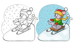 Coloring book or page. Fanny mouse on sled. Stock Images