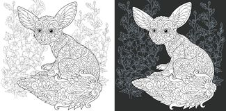 Coloring book page with fenec fox royalty free illustration