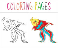Coloring book page, fish. Sketch and color version. Coloring for kids. Vector illustration.  Royalty Free Stock Photos