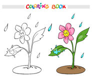 Coloring book or page. Flower daisy rejoices rain. Stock Photos