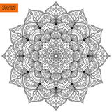 Coloring Book Page with Flower Mandala Royalty Free Stock Photos