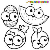 Coloring book page fruit kiwi watermelon strawberry peach Stock Photos