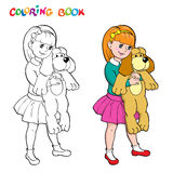 Coloring book or page. Girl with a toy dog. Stock Image