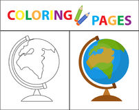 Coloring book page. Globe. Sketch outline and color version. Coloring for kids. Childrens education. Vector illustration.  Royalty Free Stock Image