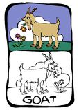 Coloring book page : goat. Printable color book page, letter G Stock Images