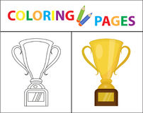 Free Coloring Book Page. Gold Cup Winner, Prize. Sketch Outline And Color Version. Coloring For Kids. Childrens Education Stock Photography - 96295562