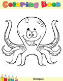 Coloring Book Page With Happy Octopus Cartoon Mascot Character. Royalty Free Stock Photography