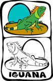 Coloring book page : iguana. Printable color book page, letter I stock illustration