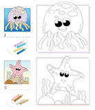 Coloring book page: jellyfish & starfish Stock Images