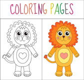 Coloring book page. Lion. Sketch and color version. Coloring for kids. Vector illustration Royalty Free Stock Photo