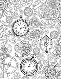 Coloring book page with mechanical details and old clocks Royalty Free Stock Images