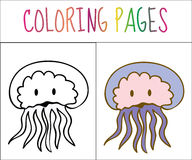 Coloring book page, Medusa. Sketch and color version. Coloring for kids. Vector illustration Stock Photography