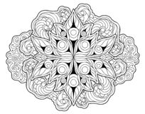 Coloring book page with beautiful floral pattern stock photo