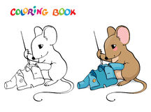 Coloring book or page. Mouse with sewing a jacket. Royalty Free Stock Image