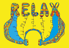 Coloring book page - music is pouring from the headphones. Take a load off, relax. Hand drawn illustration, zentangle style, zenart and doodle Royalty Free Stock Photo
