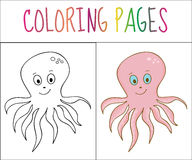 Coloring book page, octopus. Sketch and color version. Coloring for kids. Vector illustration.  royalty free illustration