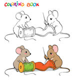 Coloring book or page. One mouse sewing needle, the other holding a spool of thread. Stock Images