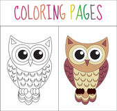 Coloring book page. Owl. Sketch and color version. Coloring for kids. Vector illustration Stock Photography