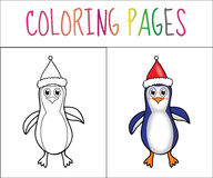 Coloring book page Penguin Christmas. Sketch and color version. Coloring for kids. Vector illustration.  royalty free illustration