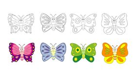 Coloring book page for preschool children with colorful butterflies and sketch to color. Vector butterfly illustration isolate stock photography