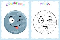 Coloring book page for preschool children with colorful Mercury stock photo