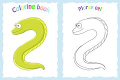 Coloring book page for preschool children with colorful moray ee. L  and sketch to color. Sea animal Royalty Free Stock Photos
