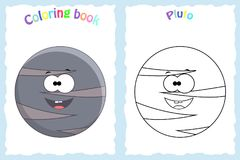 Coloring book page for preschool children with colorful pluto pl. Anet and sketch to color stock illustration