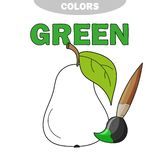 Coloring book page for preschool children with outlines of pear. Vector illustration for kids education. Learn the green color royalty free illustration