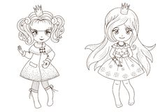 Coloring  book page - princesses 2 Royalty Free Stock Images