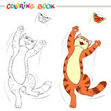 Coloring book or page. Red cat jumping over the butterflies on white background. Stock Images