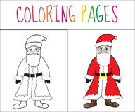 Coloring book page Santa Claus. Sketch and color version. Coloring for kids. Vector illustration.  royalty free illustration