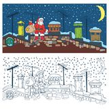 coloring page christmas night and santa royalty free illustration