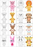 Coloring book page set. Animals collection. Sketch and color version. Coloring for kids. Childrens education. Vector Stock Images