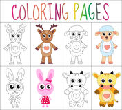 Coloring book page set. Animals collection. Sketch and color version.  for kids.  Stock Image