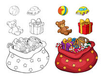 Coloring book or page. Set of Christmas gifts. Stock Photos