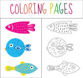 Coloring book page. Set fish. Sketch and color version. Coloring for kids. Vector illustration Stock Photography