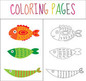 Coloring book page. Set fish. Sketch and color version. Coloring for kids. Vector illustration.  royalty free illustration