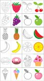 Coloring book, page set. Fruits collection. Sketch and color version. Coloring for kids. Childrens education. Vector Stock Photo