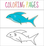 Coloring book page, shark. Sketch and color version. Coloring for kids. Vector illustration.  vector illustration