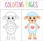 Coloring book page. Sheep. Sketch and color version. Coloring for kids. Vector illustration Royalty Free Stock Photos