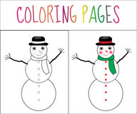 Coloring book page, snowman, new year, Christmas. Sketch and color version. Coloring for kids. Vector illustration.  royalty free illustration