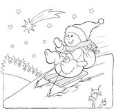Coloring book or page. Snowman on the sled with gifts. Stock Photo