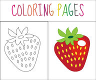 Coloring book page. Strawberry. Sketch and color version. Coloring for kids. Vector illustration.  royalty free illustration