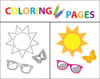 Coloring book page. Summer set, glasses, sun, butterfly. Sketch outline and color version. Coloring for kids. Childrens Royalty Free Stock Image