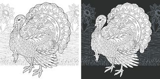 Coloring book page with turkey royalty free illustration