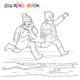 Coloring book or page. Two joyful boys running along the puddles of paper boats. Stock Image