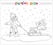 Coloring book or page. Two kids - boy and girl on sled. Royalty Free Stock Photos
