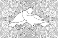 Coloring book page with two kissing white doves vector illustration
